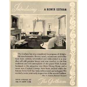 1939 Ad Gotham Hotel Suites Fifth Avenue Lodge Vacation
