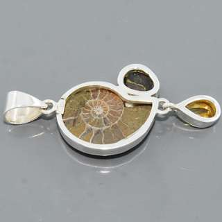 Ammonite Fire Agate Citrine Gemstone 925 sterling Silver Pendant