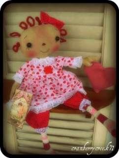 Primitive Raggedy Ann doll Valentine Heart Retro Pink OOAK by