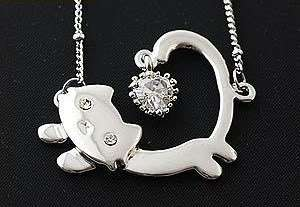 Cute Alloy Lovely Running Cat Heart Valentines Necklace Pendant N322