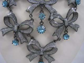 BETSEY JOHNSON SNOW ANGEL~BOW~BLUE CRYSTAL NECKLACE