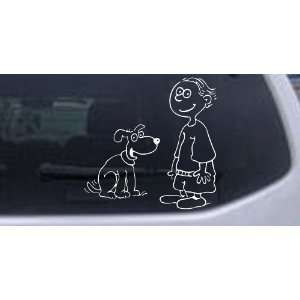 With Dog Stick Family Car Window Wall Laptop Decal Sticker    White