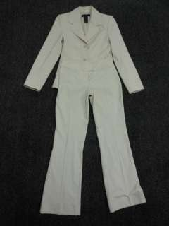 Stretch Ivory Tan collar Stylish Pockets cuffed ankle Pant SUIT XS 0