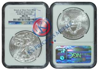 2012 (W) American Silver Eagle $1 NGC MS70 MS 70 Early Releases (Blue