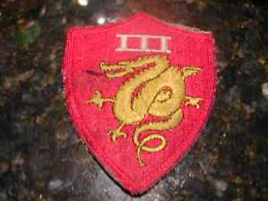 WWII U.S. 3rd Marine Corp Patch. Uncommon.