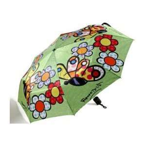 Romero Britto  Butterfly & Flowers Folding Compact Umbrella