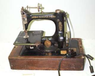 Antique 1923 Era Singer Model 24 Chain Stitch Sewing Machine with Bent