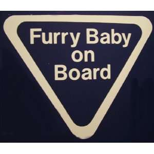 Furry Baby on Board White Car Decal Automotive