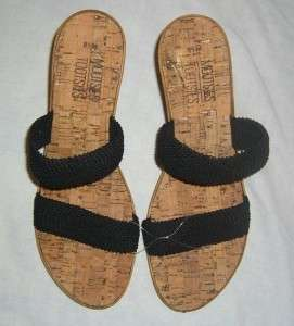 NWOT Womens Mootsies Tootsies Black Wedge Sandals 8.5