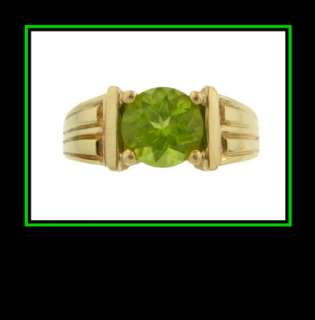 14K Solid Yellow Gold Peridot Solitaire Fashion Ring