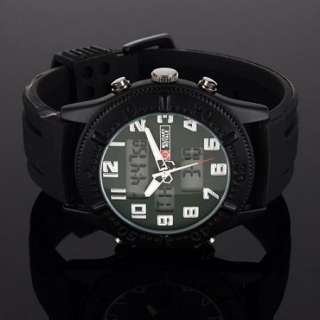 Mens Army Digital Sport Black Green Dial Alarm Date Men Quartz Mens