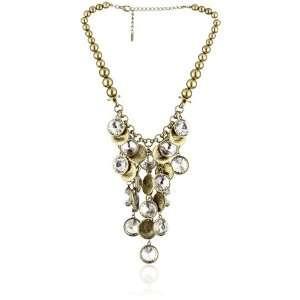 Leslie Danzis Antique Gold Tone Crystal Coin Necklace