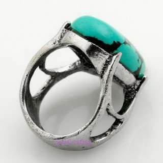 Green Oval Turquoise Gemstone Tibet Silver Ring Sz 7