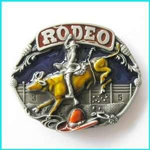 Western Style Multi Color Enamel Bull Rider Rodeo Belt Buckle WT 085