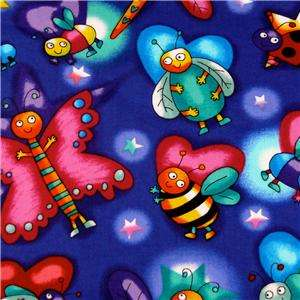 Timeless Treasures Blue Cotton Fabric Bugs! 18 X 20