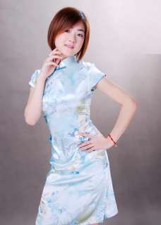 Chinese style blue satin Cheongsam Dress/Evening gown