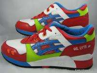 ASICS GEL LYTE 3 III MENS SHOES WHITE RED BLUE VEGAN RARE TRAINERS 12
