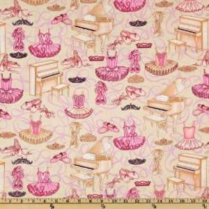44 Wide Bella Ballerina Dance Recital Cream Fabric By