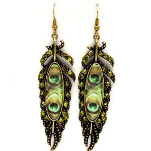 FASHION JEWELRY   Green Peacock Bird Feather Formica and