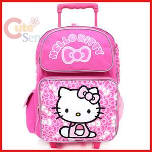 Hello Kitty Large Rolling Backpack School Roller Bag Pink Bows Trolley