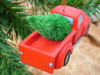 New Pickup Truck Red Chevy Christmas Tree Ornament