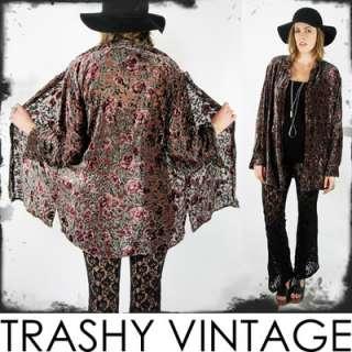 gypsy SHEER floral BURNOUT VELVET draped KIMONO shirt jacket top S/M/L