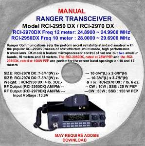 Ranger Transceivers RCI 2950 2970 10&12 Meter, Transceiver Manual Disc