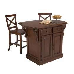 Traditions Kitchen Island & Two Bar Stools, Cherry Finish   by Home