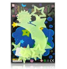 Plastic Glow in the Dark Stars Sun Moon Set with double side tape