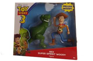 Disney Pixar Toy Story 3 Action Super Sprint Woody Posable Rex Figures