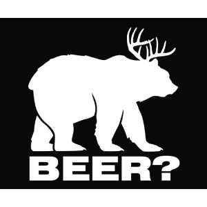 Bear plus Deer equals BEER Vinyl Die Cut Decal Sticker 5