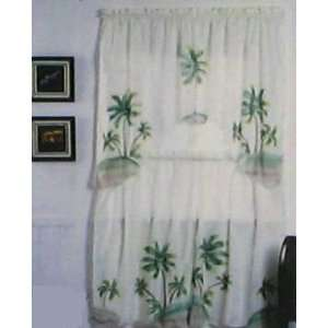 Kitchen Curtains Palm Tree Window Curtain Set Tiers Swag Blue White Gingham  Lace