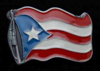 Puerto Rico / Rican Flag Metal Belt Buckle