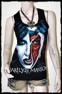 Marilyn Manson MM Rock DIY Funky Mesh Back Top Shirt