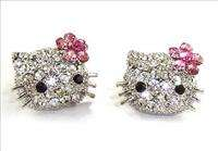 Cute Kitty Stud Earrings Finest Swarovski Crystal NEW   top quality