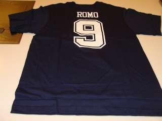 Reebok Dallas Cowboys Tony Romo Name & Number T Shirt Players Navy