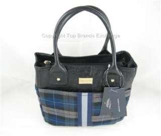 Tommy Hilfiger Blue Gray Black Plaid Handbag Purse Tote Bag Gold