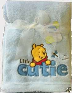 the Pooh Baby Blanket Blue Boys Nursery Toddler Super Soft