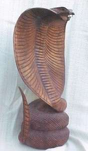 16in Hand Carved Wood Cobra from Bali AMAZING Detail