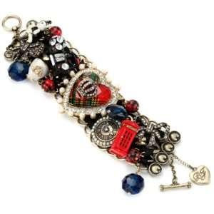 Betsey Johnson Royal Engagement Multi Charm Wide Toggle Bracelet