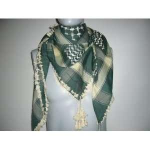 Premium high quality Green Arabic scarf. Shemagh Arab Keffiyeh, Neck
