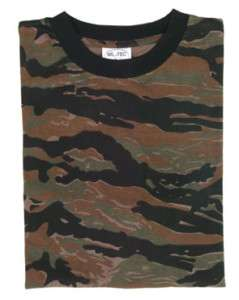 Tiger Stripe Camouflage Military T Shirts Army Camo Top