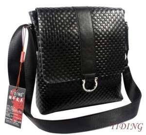 Leather SATCHEL Messenger Bag Shoulder Bag Black NEW TIDING
