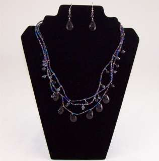 Amazing 3 Row Bead Tear Drop Necklace & earrings set   4 Colors to