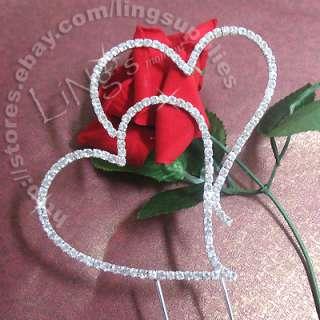 7cm Monogram Silver Diamante Heart Wedding Cake Topper