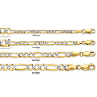 Solid Pave Figaro Chain Necklace 14K Yellow White Gold