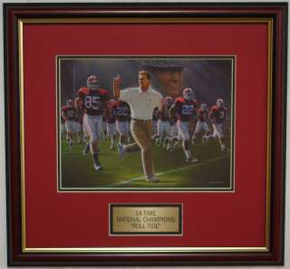 ALABAMA football Nick Saban Bear Bryant framed print 14 time National