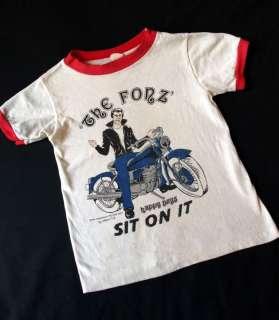 vintage 76 THE FONZ Happy Days kids ringer T SHIRT 4/5