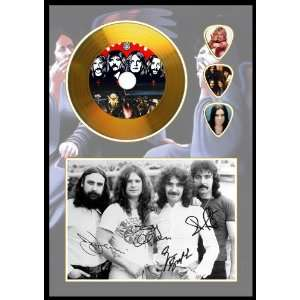 Black Sabbath Gold Disc & Guitar Picks, Signed A4 Sized
