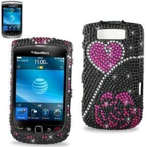 Cover Case for Blackberry Torch 9800 (9800 Bling Rose Heart Black